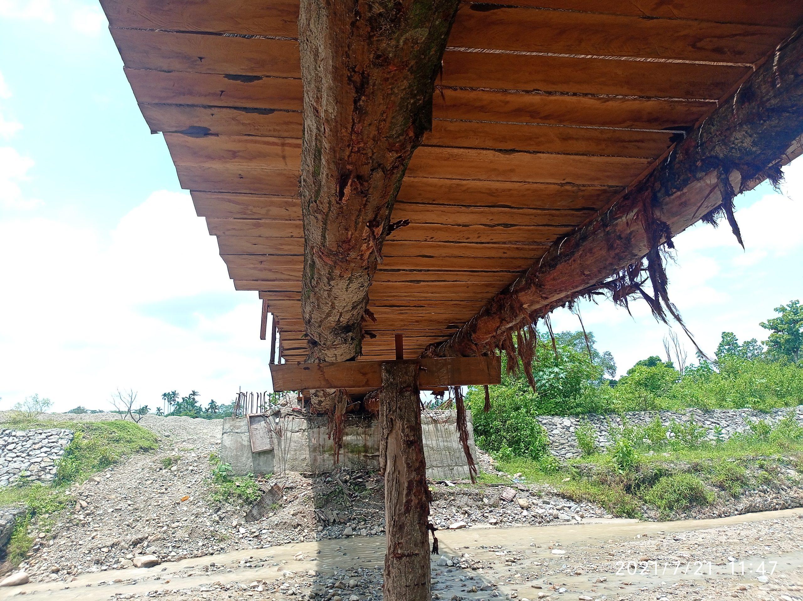 ८८ लाख सकियो पुल बनेन । सालका रुख तेर्साएर  पुल बनाइयो , वन अधिकृतहरू भन्छन् , रुख ढाल्ने बिरुद्ध मुद्दा चलाउँछाैं